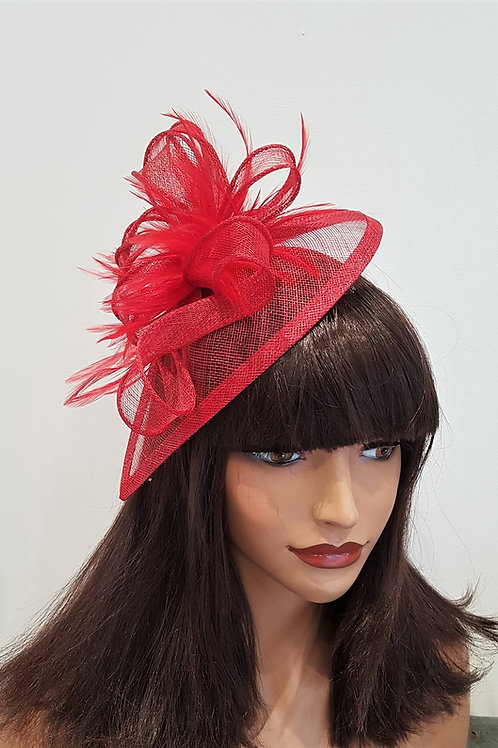 Red Teardrop Fascinator Hat on band 377656