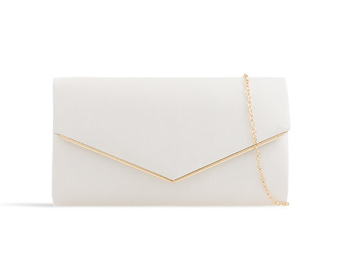 White Clutch Bag with a gold trim 080621