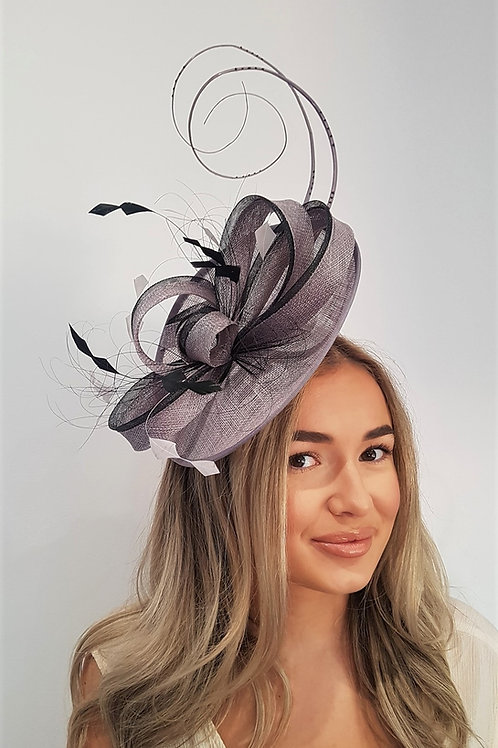 Silver / Grey & Black Sinamay fascinator Hat on a band 393345