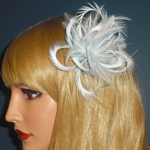 Very Pale Blue Looped Fascinator Comb