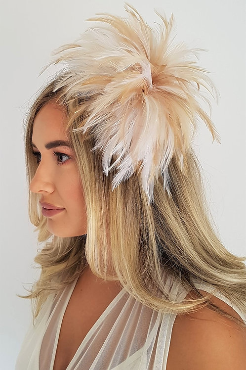 Shades of Beige Pale Gold & Ivory Feathers on a comb