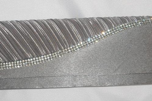 Silver Satin Bag with Diamante Trim