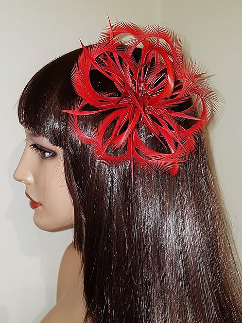 Red Looped Facinator comb with crystals 465987
