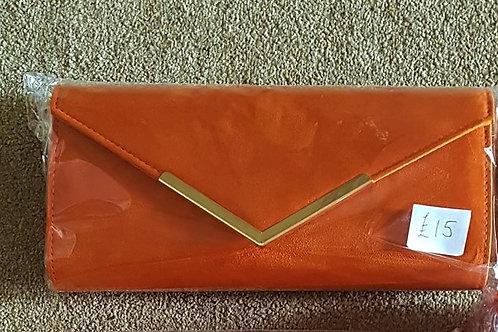 Deep Orange Suede effect Clutch Bag with strap