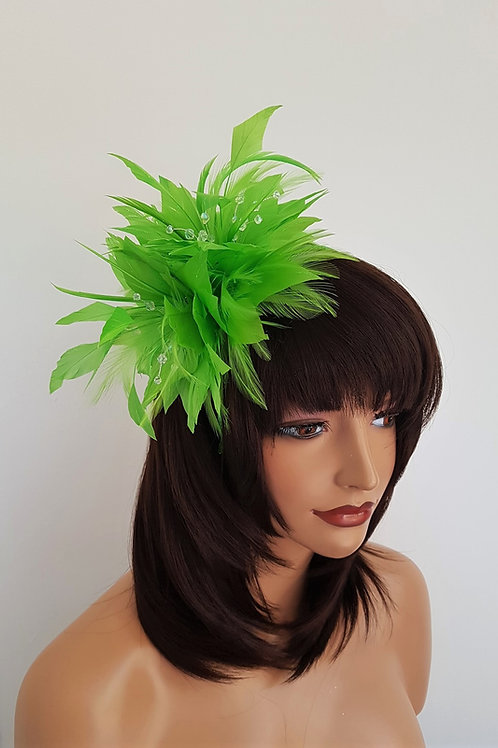 Vivid Green Feather Fascinator band with clear crystals and sparkle