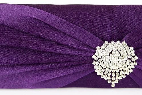 Purple Satin Bag with Rhinestone Centre