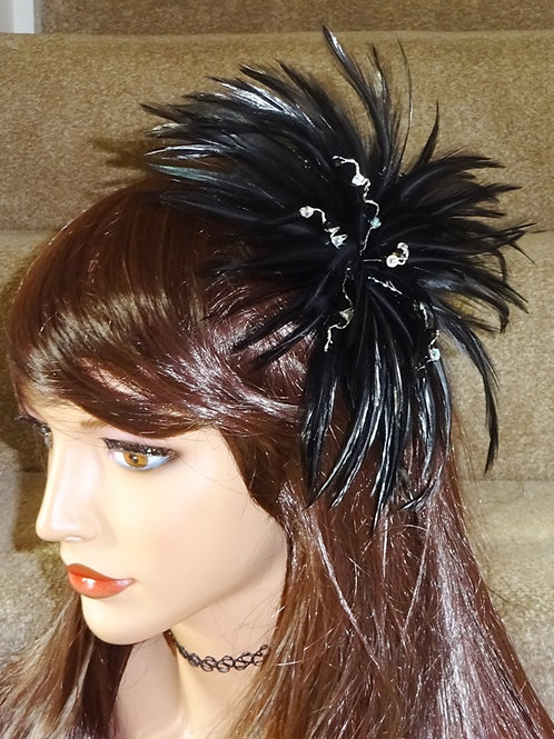 Black Feather Fascinator with Crystals on a comb 867544