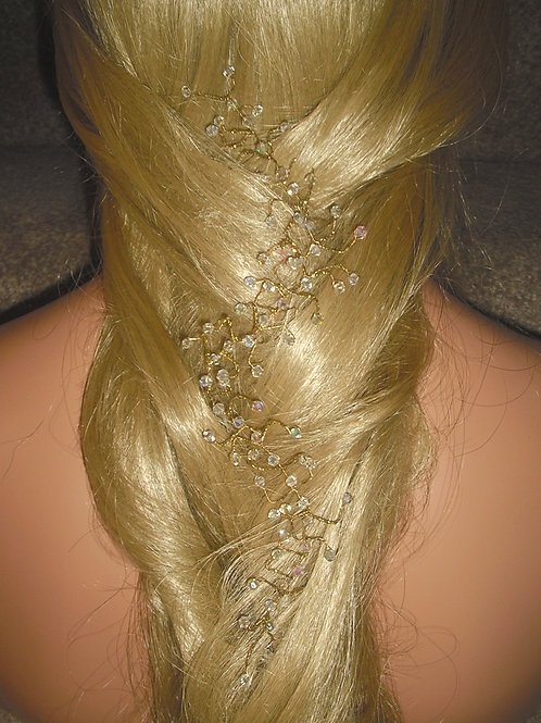 GOLD CRYSTAL HAIR VINE, FOR WEDDINGS, BRIDESMAIDS, OR PROMS
