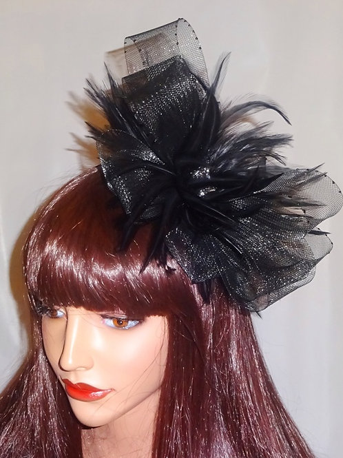 Black Crin and Feather Fascinator on band with sparkly centre