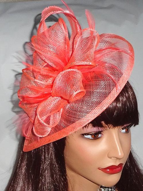 Flamingo Pink Coral Teradrop Fascinator Hat on band 488485