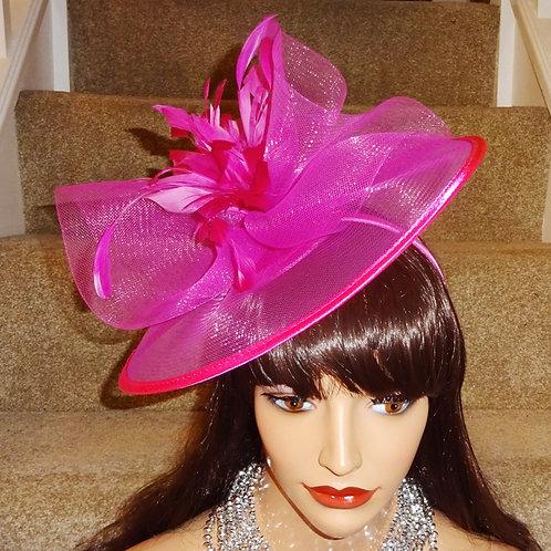Pink sheer Fascinator hat on band 969586