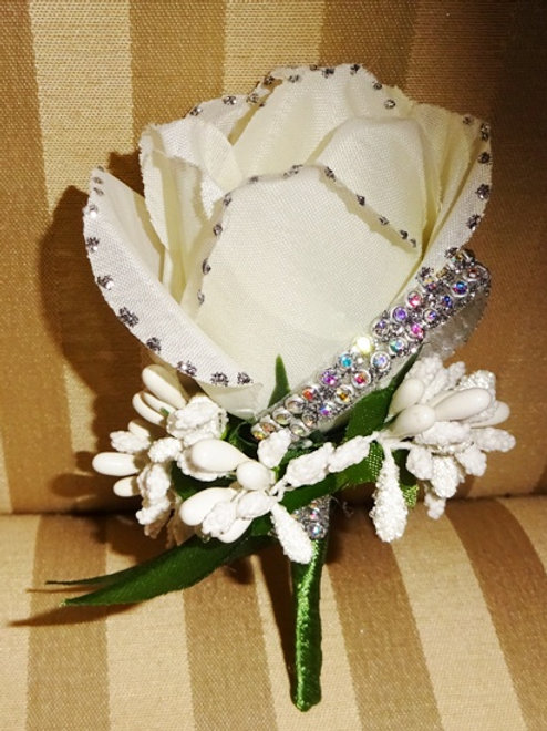 Sparkly Buttonhole Corsage with Pin attached to the back