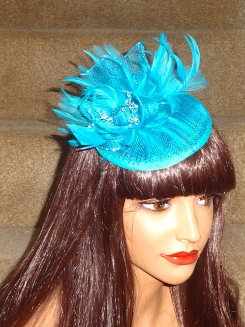 Turquoise Fascinator Hat on thin Band with crystals 445566