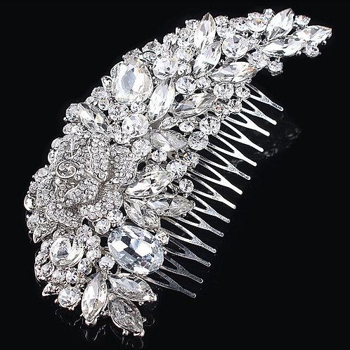 Silver Rhinestone Diamante Comb