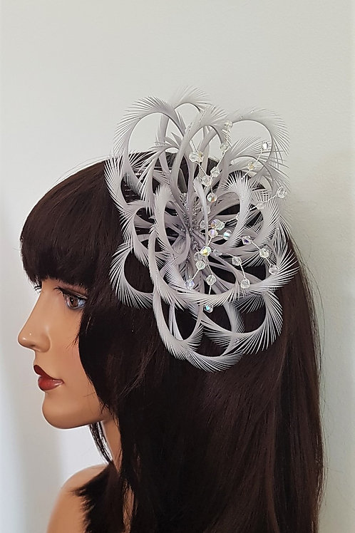 Light Silver Looped fascinator comb with clear crystal beading