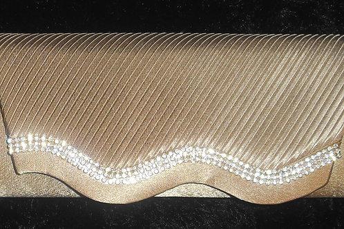 Beige / Nude Diamante Wave Clutch Bag