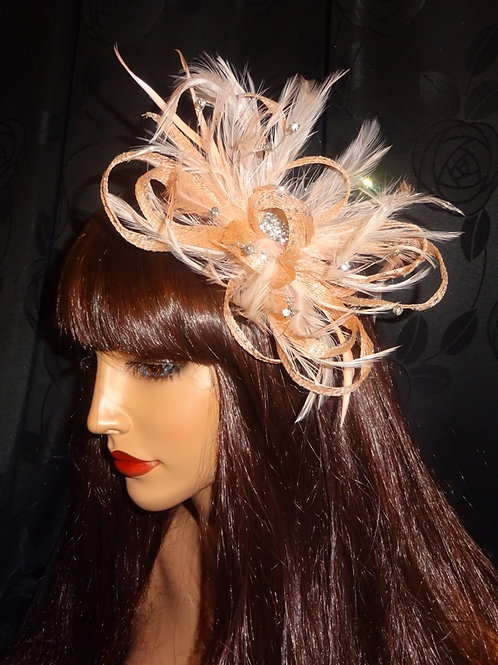 Pale Peach Sinamay Looped Fascinator with Diamantes