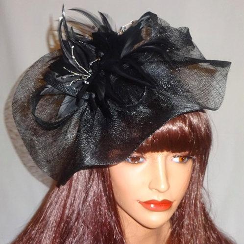 Black Sinamay Fascinator Hat on band 299089