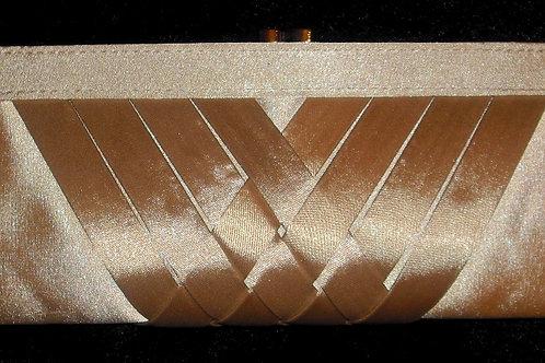 Beige / Nude Pleated Clutch Bag 23466