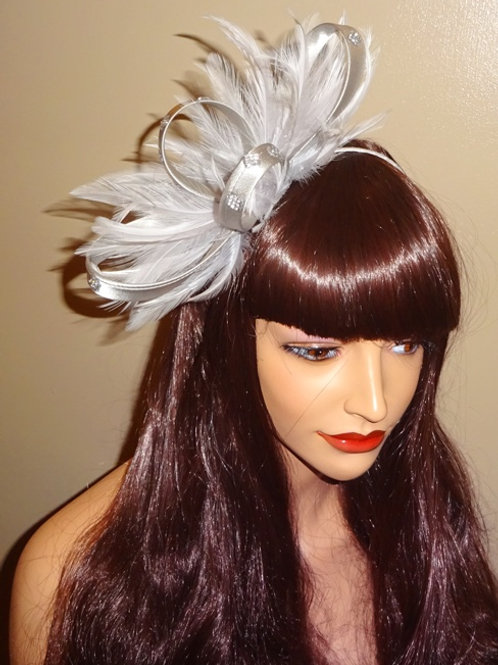 Light Silver Fascinator with Rhinestone Crystal trim 282768