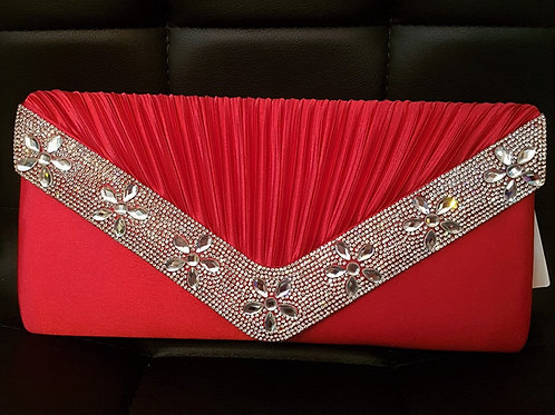 Large Red clutch bag with chain strap and Rhinestone detail 456325