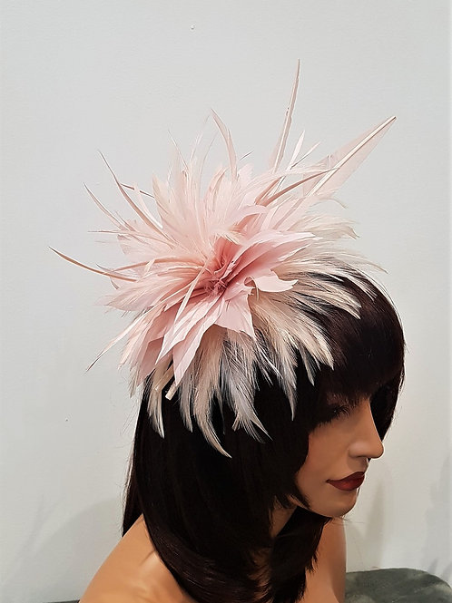 Blush / Pale Peach / Nude Feather Fascinator with a sparkle finish