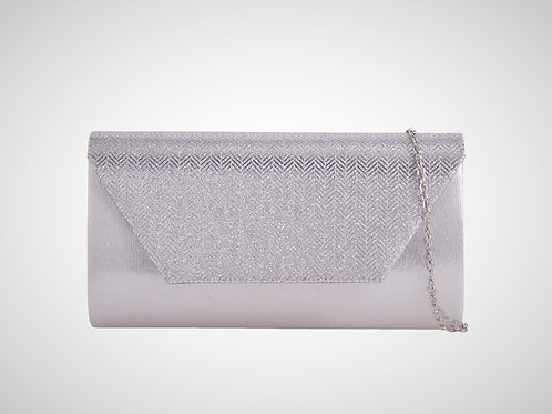 Silver shiny metallic clutch Bag with strap 100621