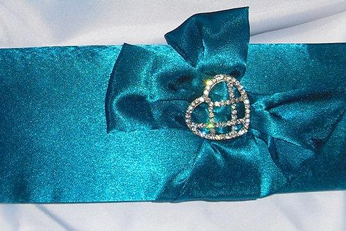 Teal / Deep Turquoise Rhinestone Heart Clutch Bag
