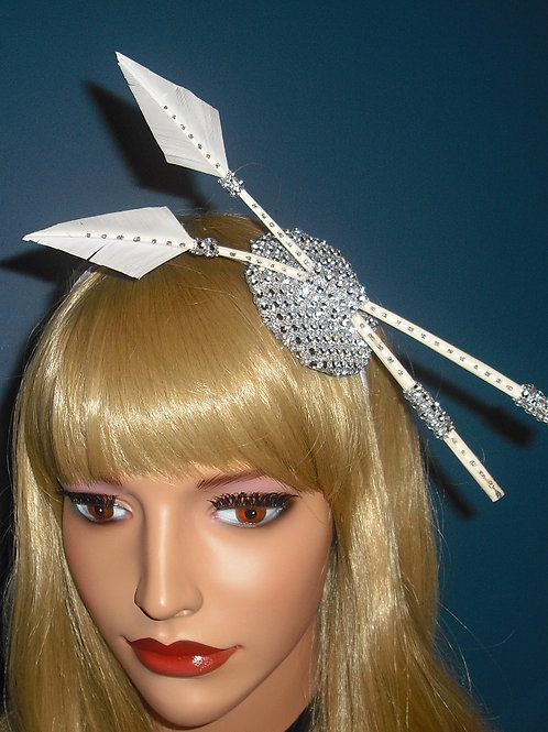 Cream & Silver Arrow Feather Fascinator on diamante Base on band