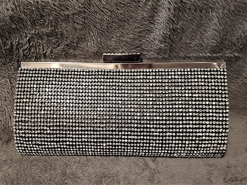 Black & Silver Rhinestone Bag with strap (plain black back)