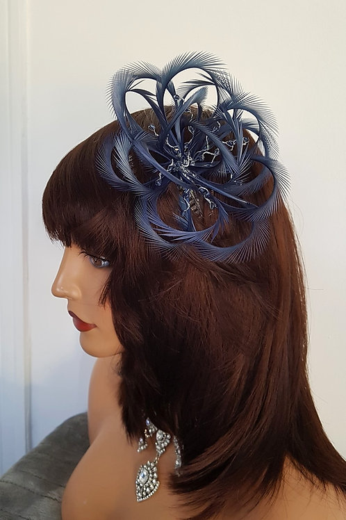 Blue Looped Fascinator comb with crystals (Corsage is £10 extra)