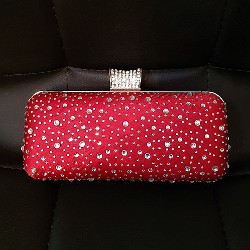 Red hard cased bag with strap and silver diamante's