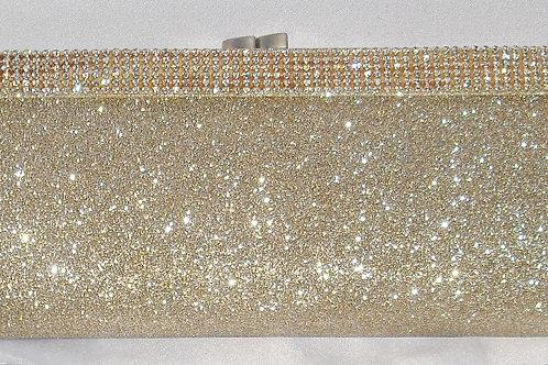 Pale Gold Rhinestone Glitter Clutch Bag