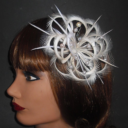 Ivory Looped Fascinator comb 123
