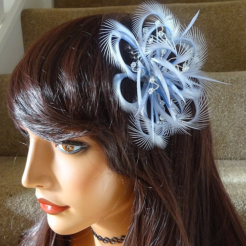 Lilac Mauve Looped Fascinator comb with crystals