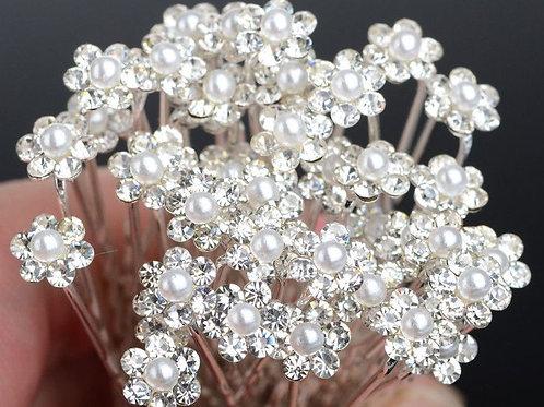 Small Pearl Flower Hair Pins x1