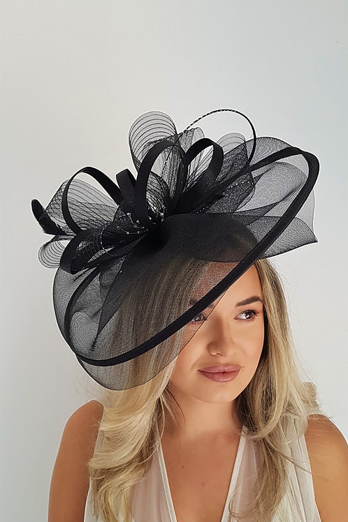Large crin Fascinator hat with satin loops and silver sparkle & crystals