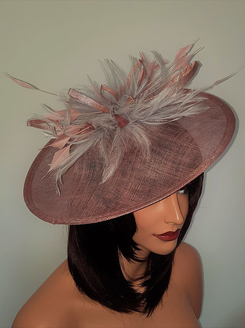 Pink & Silver Sinamay Hat on band  finished with a sparkle 31721