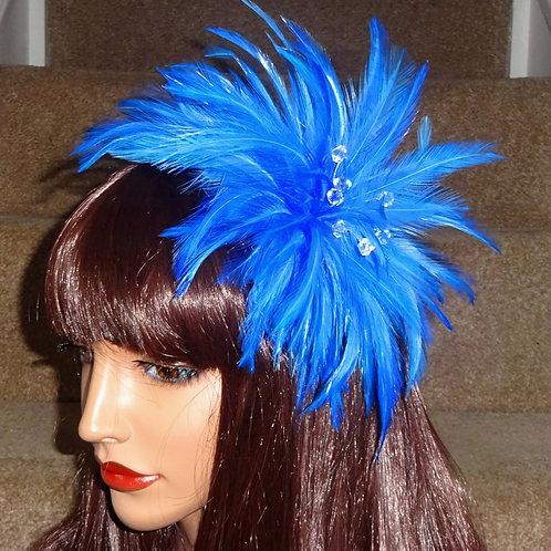 Blue Feather fascinator comb 989865