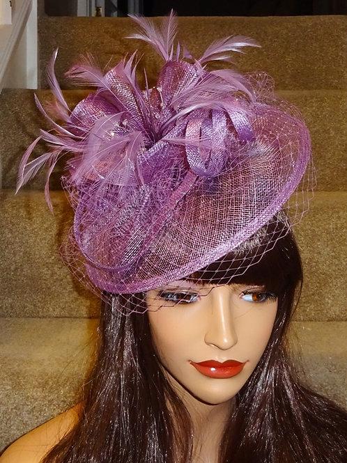 Heather / Mauve / Light Plum Fascinator Hat on band