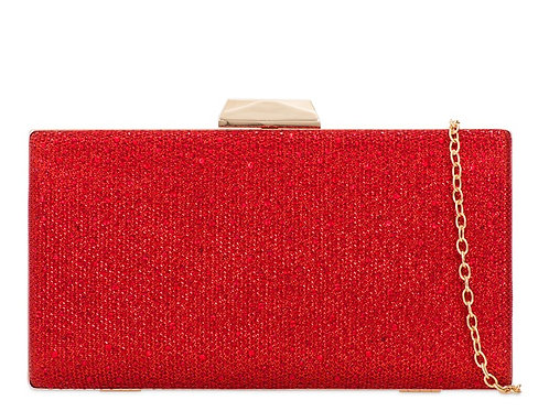 Red and Gold hard cased clutch Bag with strap 100621