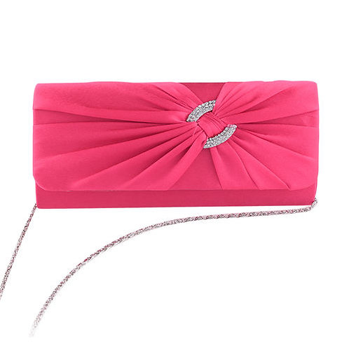 Hot Pink Clutch Bag with diamante Buckle 45654