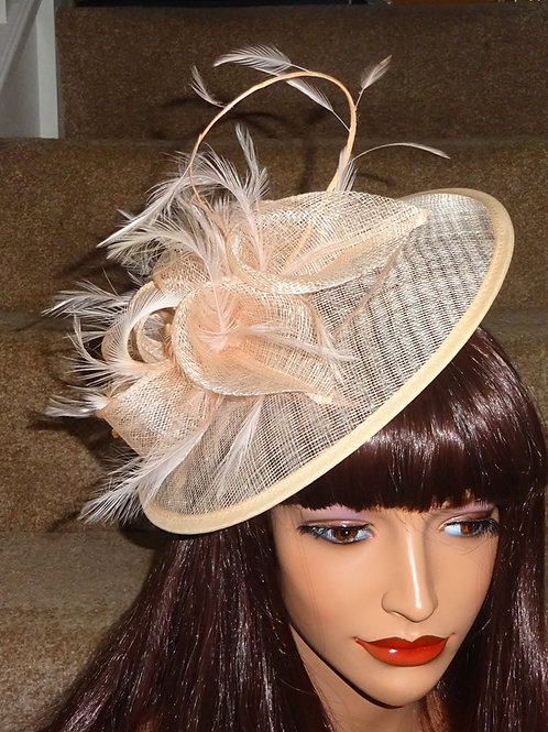 Apricot Blush Hat Fascinator on thin band 96986