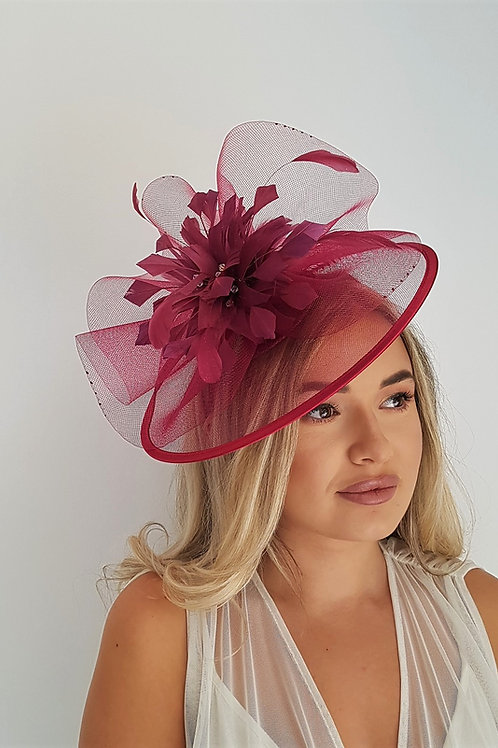 Light Burgundy Maroon Crin Fascinator hat with satin trim