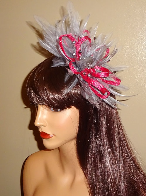 Hot Pink & Gunmetal Grey Fascinator on Band with crystals