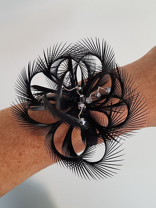 Black Looped wrist corsage on an elasticated band 181920