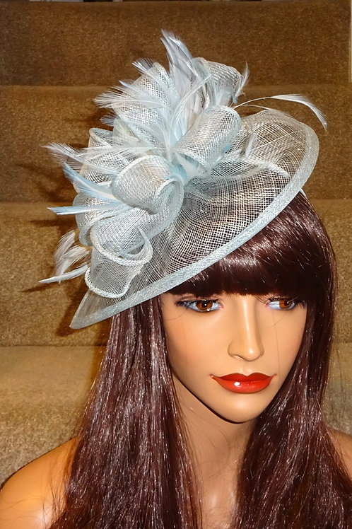 Baby Blue Powder Blue Teardrop Fascinator on Band 665789