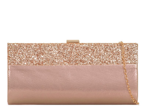 Gold hard cased clutch Bag with strap 100621