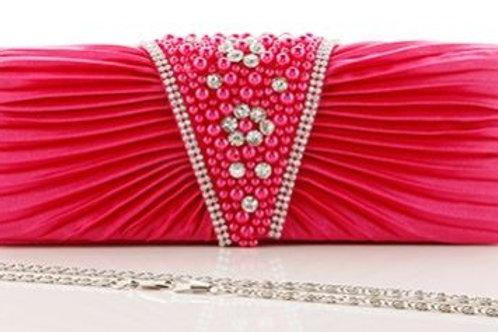 Bubblegum Hot Pink Pearl & Crystal Bag