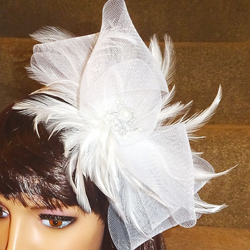 White Crin sparkly Fascinator on thin Band with pearl centre 79879
